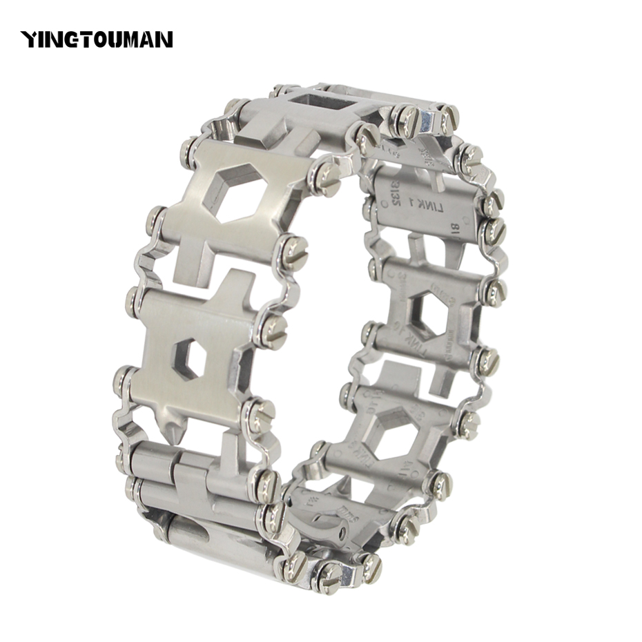 YINGTOUMAN Wearable Tread 29 In 1 Multi-function Bracelet Strap Multi-function Screwdriver Outdoor Emergency Kit Multi Tool 29 in 1 portable outdoor survival edc tool bracelet multi functional wearable tread stainless steel punk link bracelets strap