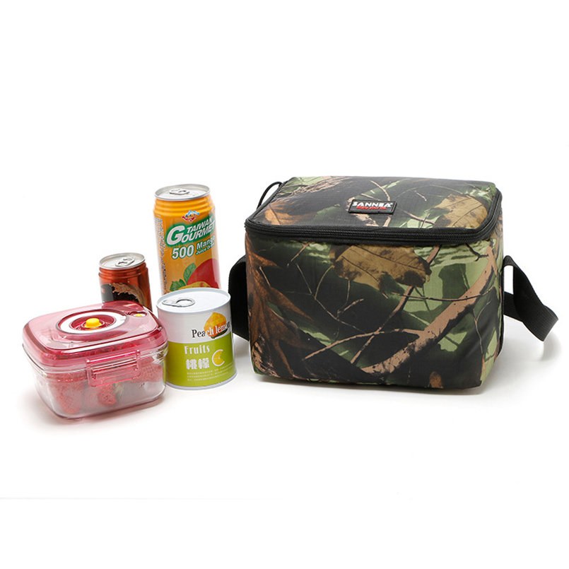 JILIDA Square Camouflage PEVA Inner Lunch Bag Portable Insulated Thermal Food Storage Bag Man Adult Outdoor Picnic Cooler Case