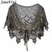 JaneVini สีดำเงา Handmade Sequins เจ้าสาวผ้าคลุมไหล่แต่งงาน Shrug Cape ผ้าคลุมไหล่อุปกรณ์เสริมสำหรับผู้หญิง Bolero De Mariage