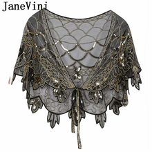 JaneVini Shiny Black Gold Handmade Sequins Bridal Shawl Wrap Wedding Shrug Cape Stoles Women Party Accessories Bolero De Mariage