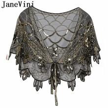JaneVini błyszczące czarne złoto ręcznie robione cekiny Bridal szal Wrap Wedding wzruszając ramionami etole kobiety akcesoria imprezowe Bolero De Mariage
