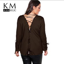 Kissmilk Plus Size Women Open Stitch Bandage Hollow Out Coat Flare Sleeve Solid Color Basic Tops Large Casual