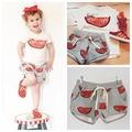 2015 Новая Коллекция Весна/Лето Ins боб * выбирает Арбуз девушки Boy'sT-рубашка + Брюки Малыша Спортивной Одежды Верхней Одежды