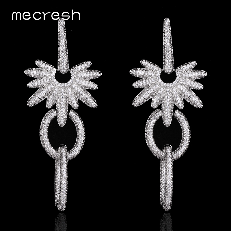 Mecresh Top Tiny Cubic Zirconia Earrings for Women Silver Color Wedding Jewelry EH559