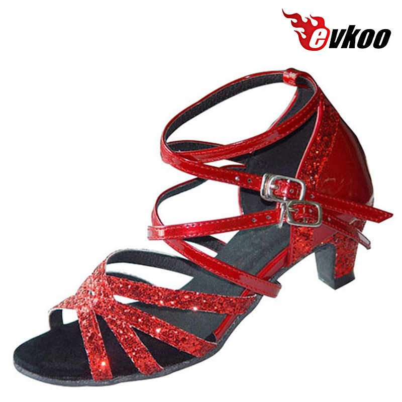 Girls Latin Dance Shoes Ballroom Red Color Pu With Shiny Material Low Heel Salsa Shoes  Evkoo-359 household mini electric induction cooker portable hot pot plate stove dorm noodle water congee porridge heater office eu us plug