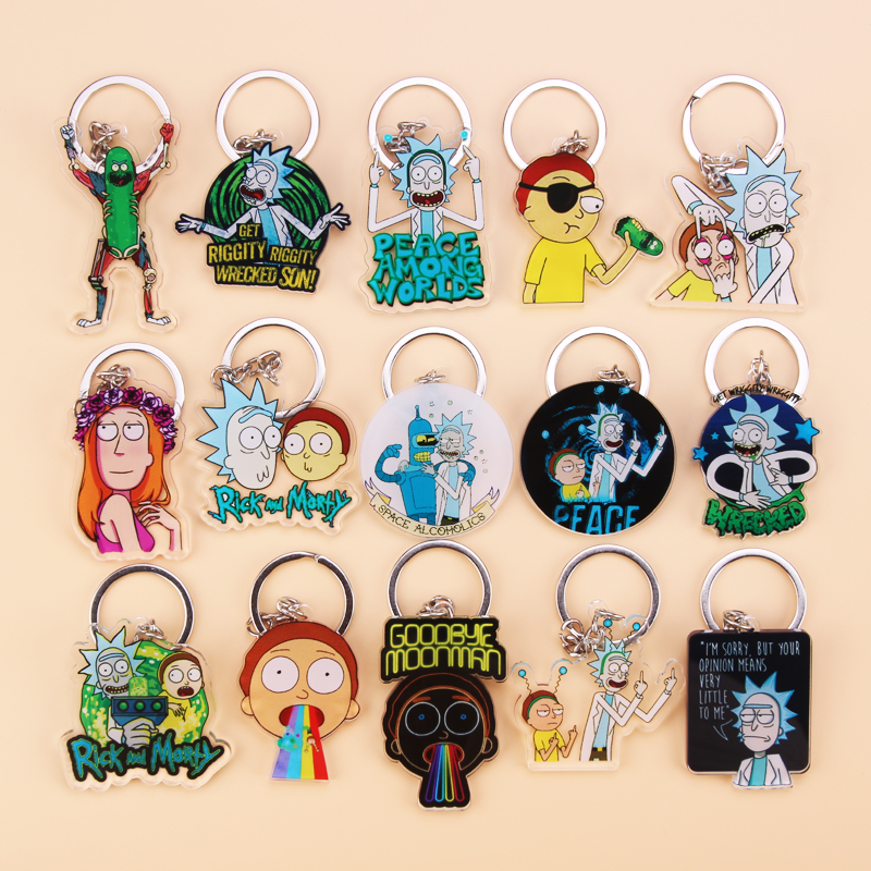 Cute Anime Cartoon Rick And Morty Keychain Acrylic Key Chain Women And Men Kids Key Ring Gift Porte Clef
