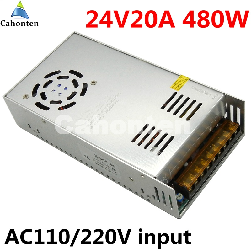24V 20A 480W switching power supply built-in cooling fan AC 110 / 220V to DC 24V DC transformer for led strip light display dc power supply 36v 9 7a 350w led driver transformer 110v 240v ac to dc36v power adapter for strip lamp cnc cctv