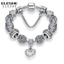 ELESHE Fashion Silver Heart Charms Bracelet Bangle for Women DIY 925 Crystal Beads Fit Original Bracelets Women Pulseira Jewelry