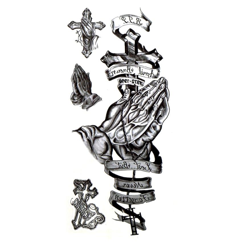5pcs Prayer And Forgiveness For Cross Waterproof Temporary Tattoos Men Tatuagem Henna Tattoo Sticker Temporary Tatoo Festival