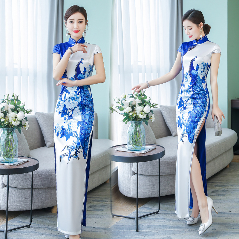 New Arrival Chinese Traditional Women Long Qipao Handmade Button Cheongsam Novelty Chinese Formal Dress Size M
