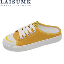 LAISUMK 2018 New Spring Light Canvas Shoes Women Shoes Slip-On Korean Tide  Students Set Foot Pedal Flat Shoes Round Top Sneakers 259ed01faf98