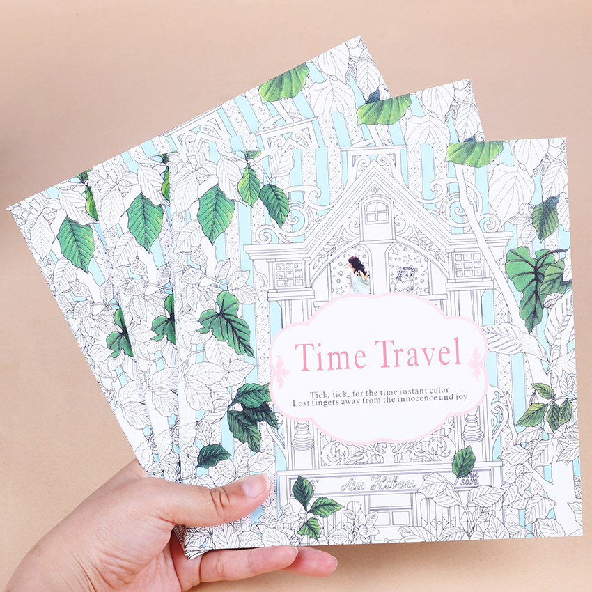 1 PC 24 Pages Time Travel Coloring Book For Children Adult Relieve Stress Kill Time Graffiti Painting Drawing Art Books