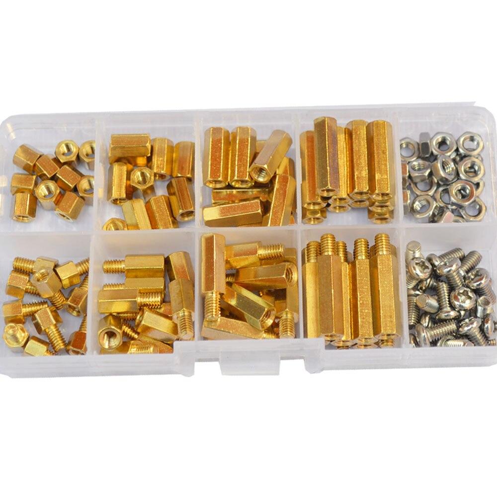 M4 Brass Male Female Hex Standoff Threaded Mount PCB Hexagon Motherboard Spacer Bolt Screw Long Nut Set Assortment Kit