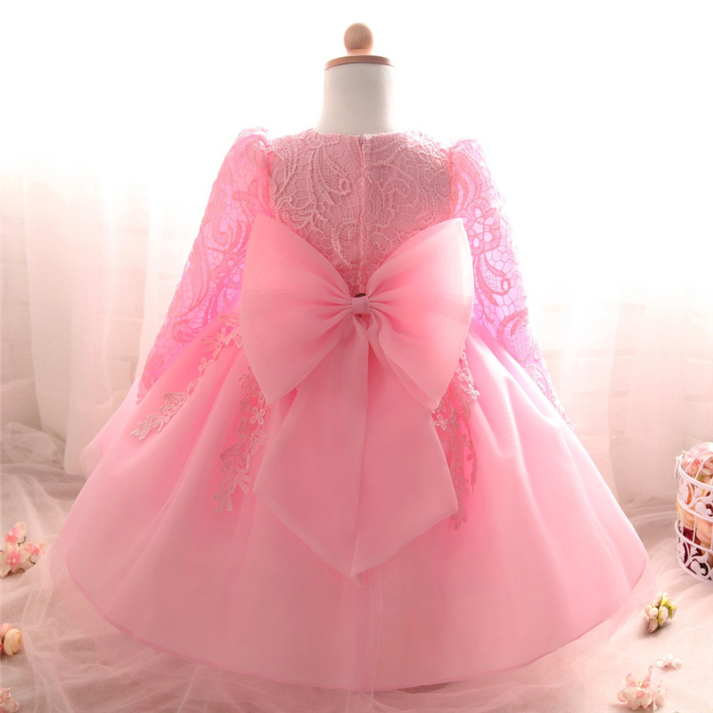 New Born Baby Girl Dress Vestido Infantil Bebes White Pink Lace Baby Dress Wedding Party Gowns Long Sleeves Girls Baptism 1 Year pink lace up design cold shoulder long sleeves hoodie dress