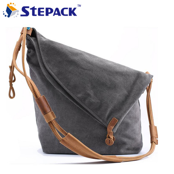 ФОТО  Brand New Famous Brand Designer Crazy Horse Leather With Canvas Women Messenger Bag Large Portable Retro Shoulder Bag WMB0184