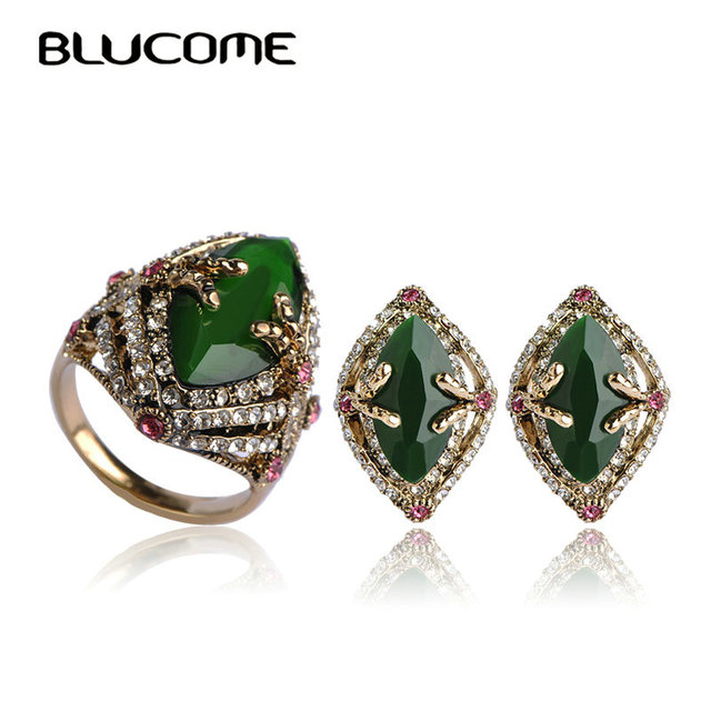 Blucome Indian Jewelry Sets Luxury Costume Bijoux Bijuterias Wedding Resin Zirconia French Hooks Green Vintage Earrings