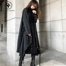 Asymmetric Oversized Trench coat women Fashion Rivet Batwing