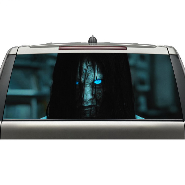 Online shopping new arrival car rear window decal sticker see through graphic vinyl adhesive wrap with grease proof in car stickers from automobiles