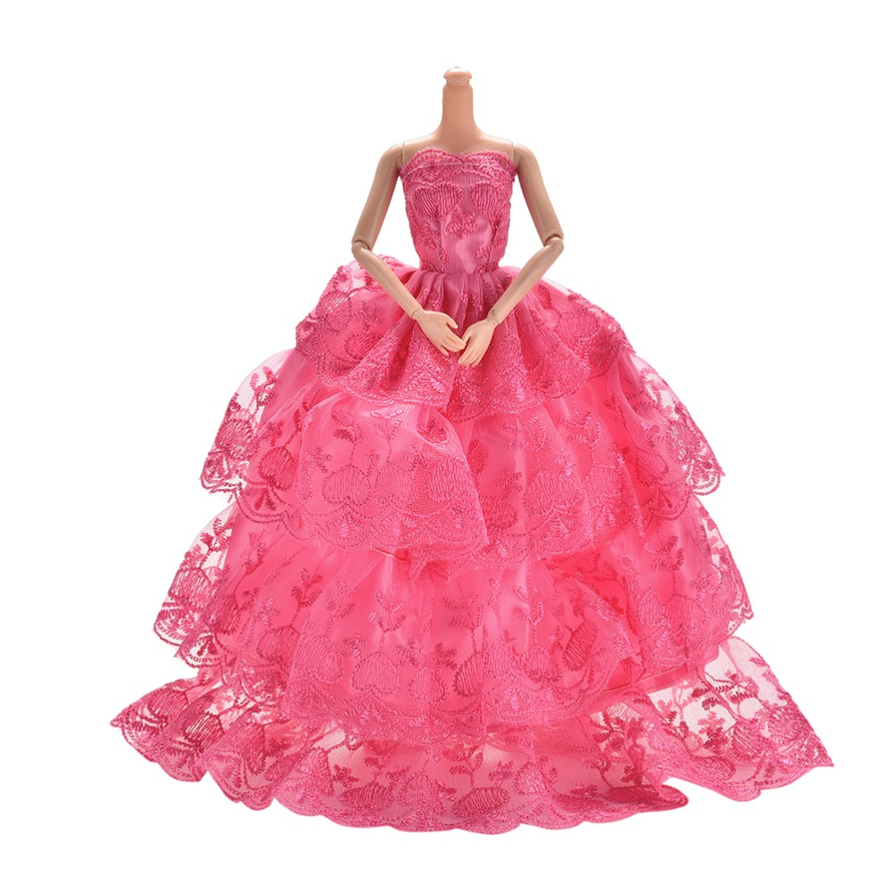 4 layers luxury dress for barbies handmade embroidery rose for Wedding dress with red roses
