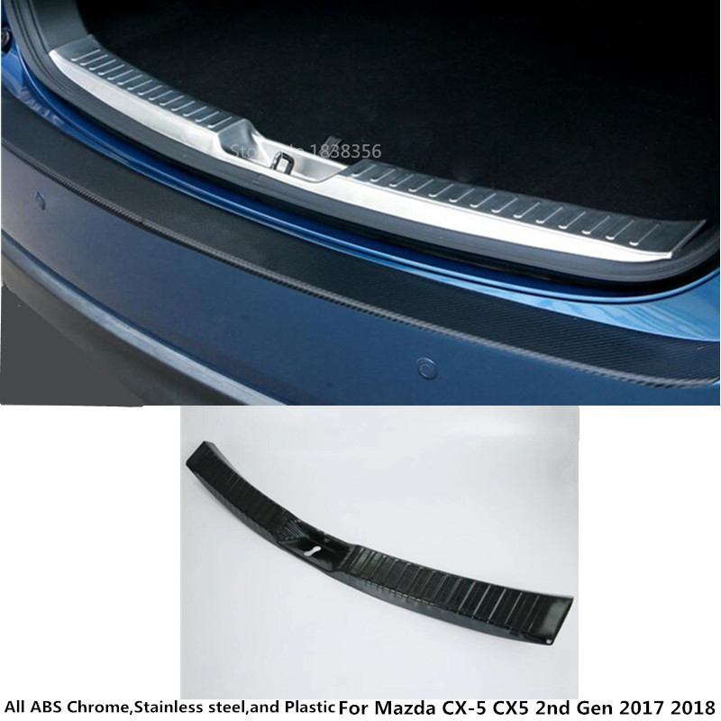 For Mazda CX-5 CX5 2nd 2017 2018 car body Stainless Steel inner rear bumper trim plate lamp frame trunk pedal threshold 1pcs