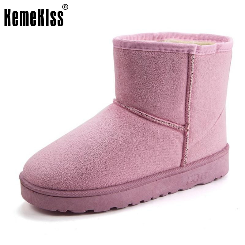 KemeKiss 7 Colors Women Mid Calf Boots Warm Fur Flats Boots Women Thick Fur Warm Shoes Cold Winter Women Footwears Size 36-40 double buckle cross straps mid calf boots