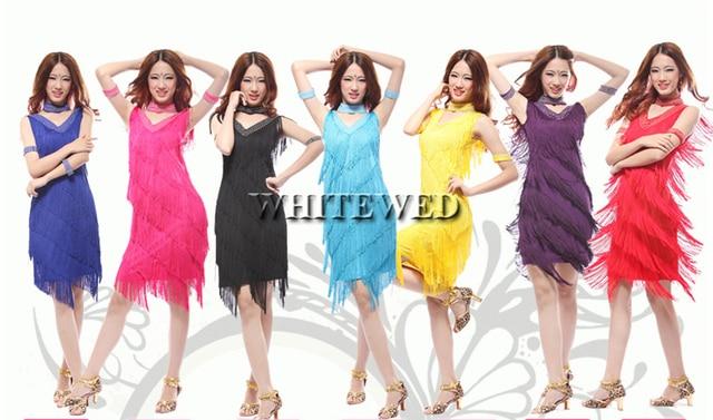 ee87cbb7e76 red pink yellow fringe roaring 20 s 1920 era latin salsa flapper girl  charleston dance halloween prom costumes dress plus size