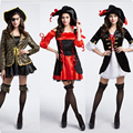 girl Sexy women cosplay Party red Deluxe Caribbean Spanish Pirate Costume dress hat Adult cosplay halloween fantasias costumes