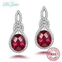 I Zuan 100 925 Sterling Silver Jewelry Drop Earrings 12 89ct Red Stone Luxury Earrings For