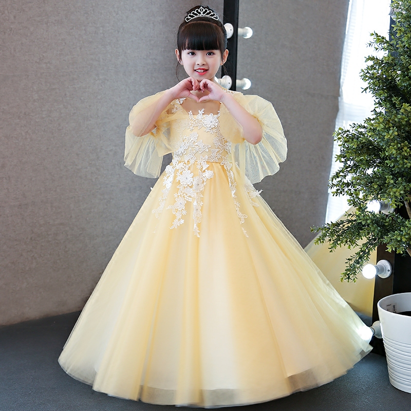 Autumn Winter New High Quality Children Girls Yellow Princess Lace Long Dress Kids Birthday Wedding Party Flare Sleeves Dress pink lace up design cold shoulder long sleeves hoodie dress