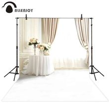 Allenjoy photography background wedding European style white window curtain flower backdrop photo studio photocall photophone