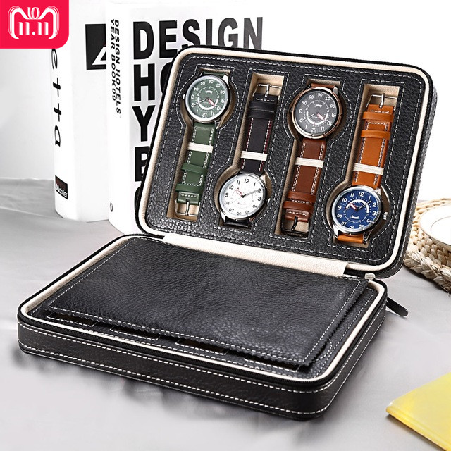 8 Grids PU Leather Watch Box Storage Showing Watches Display Storage Box Case Tray Zippere Travel Jewelry Watch Collector Case шина continental contisportcontact 5 suv n0 295 35 r21 103y