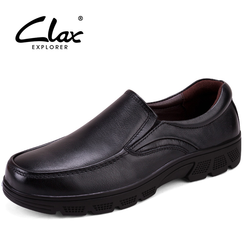 CLAX Men Dress Shoes Genuine Leather 2017 Autumn Black Dress Shoes Male Vintage Retro Social Shoe Winter Shoes Fur Warm Footwear цены онлайн