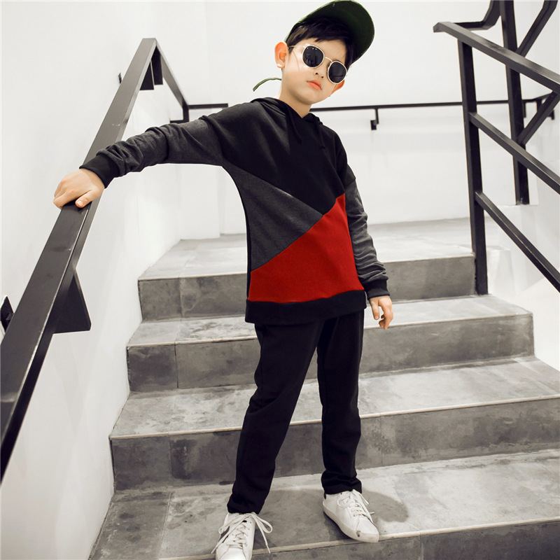 fashion children sports suits boys clothing sets kids hooded patchwork sweatshirts & pants clothes for teenagers boys tracksuits