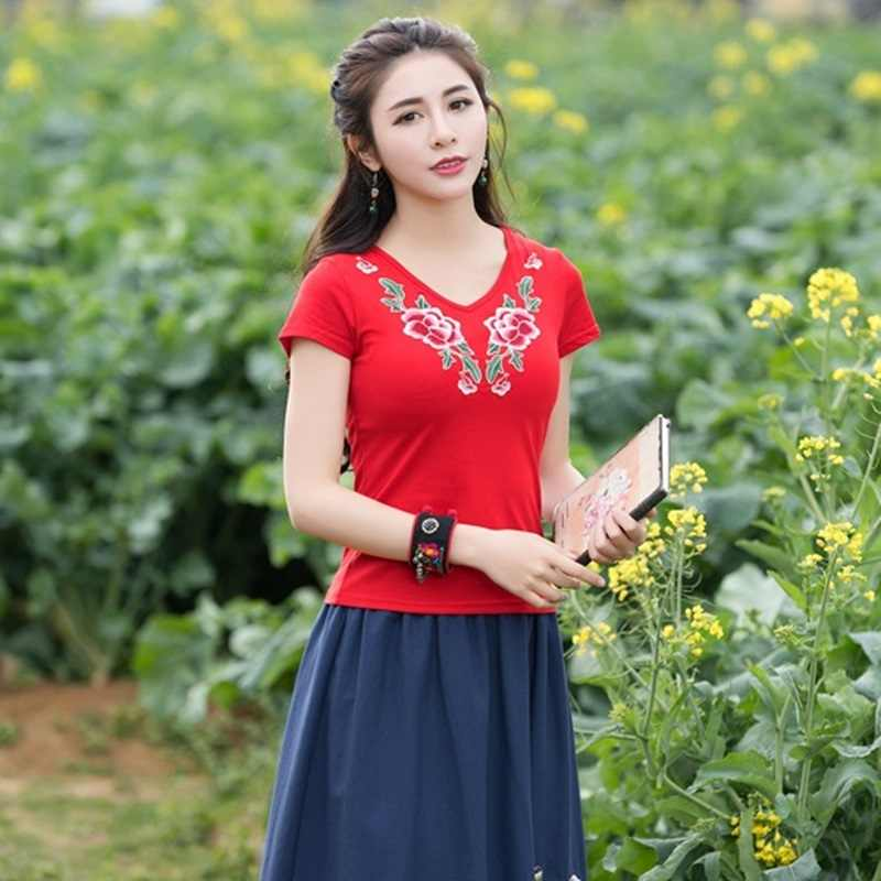 Chinese Traditionele Top Bloemen Cheongsam Tops Korte Mouw Chinese Top voor Vrouwen Chinese Blouse Qipao Shirt V1605