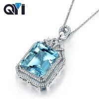 QYI роскошные 4 ct Изумрудный Cut Драгоценный Камень Природный Голубой топаз кулоны для Для женщин 925 пробы серебро пасьянс подвески
