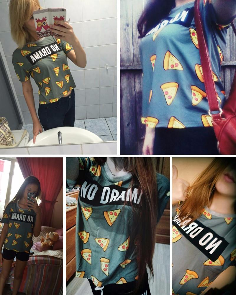 HTB1puQIOVXXXXcQXpXXq6xXFXXXf - No Drama Pizza Print Women T Shirts Short Sleeve