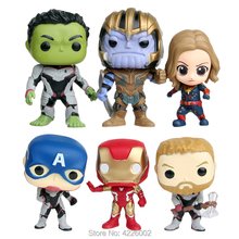 Avengers 4 Endgame Thanos Captain Marvel Thor Iron Man Hulk PVC Figures Superheroes Model Kids Hot Toys for Children 6pcs/set