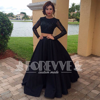 New Black Beaded Satin 2 Pieces Prom Dress 2019 Long Sleeve Formal Party Dresses Evening Gowns Vestido De Festa Abendkleider