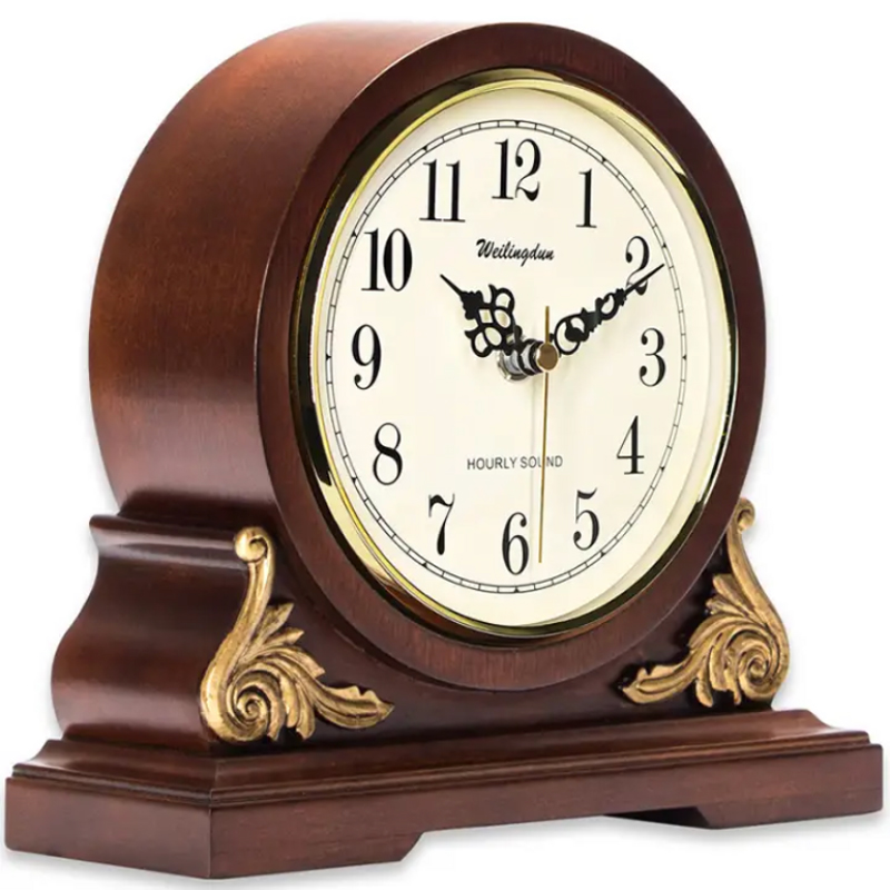 Antique style Clock Classy Home Decor Wood Desk Clock battery powered Rhythm Chime 4 songs classic