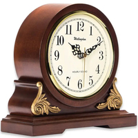 Antique style Clock, Classy Home Decor, Wood Desk Clock, battery powered, Rhythm Chime 4 songs, classic music clock tradictional