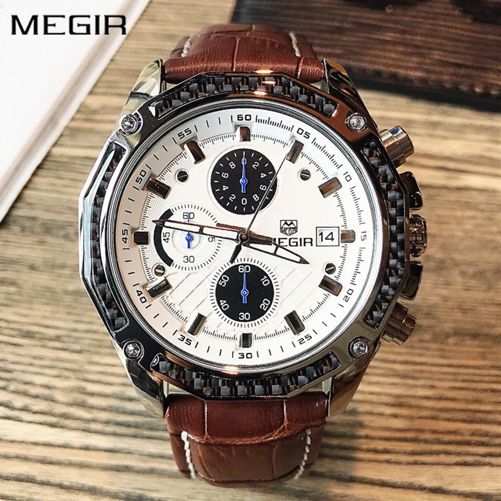 Autentyczne męskie zegarki kwarcowe MEGIR zegarki z prawdziwej - Męskie zegarki - Zdjęcie 4