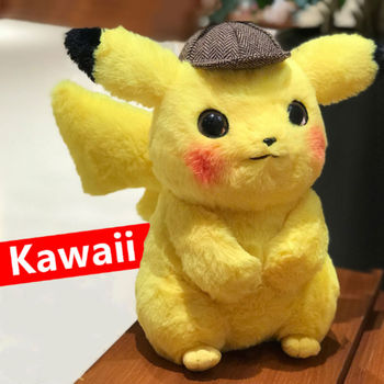 28cm Pikachu Plush Toy Stuffed Toy Detective Pikachu Japan Anime Plush Toys For Children