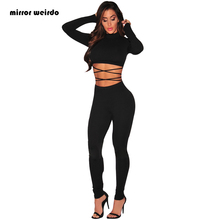 two piece set Top New 2016 Autumn Winter Women Sexy Club Bandage Bodycon Dress  Black Long Sleeve Ladies Suits