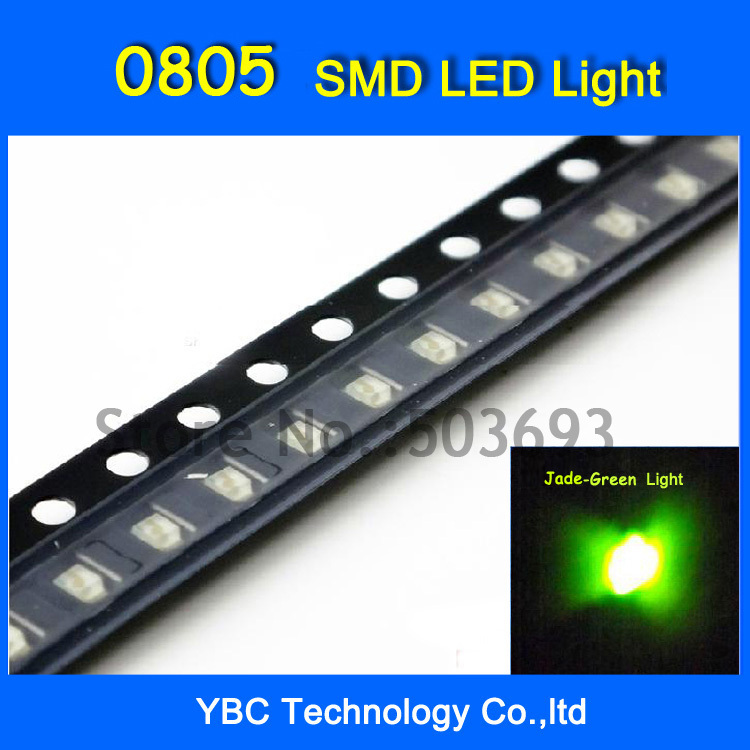 3000pcs/lot 0805 SMD Ultra Bright  Light Jade Green Color LED Diode