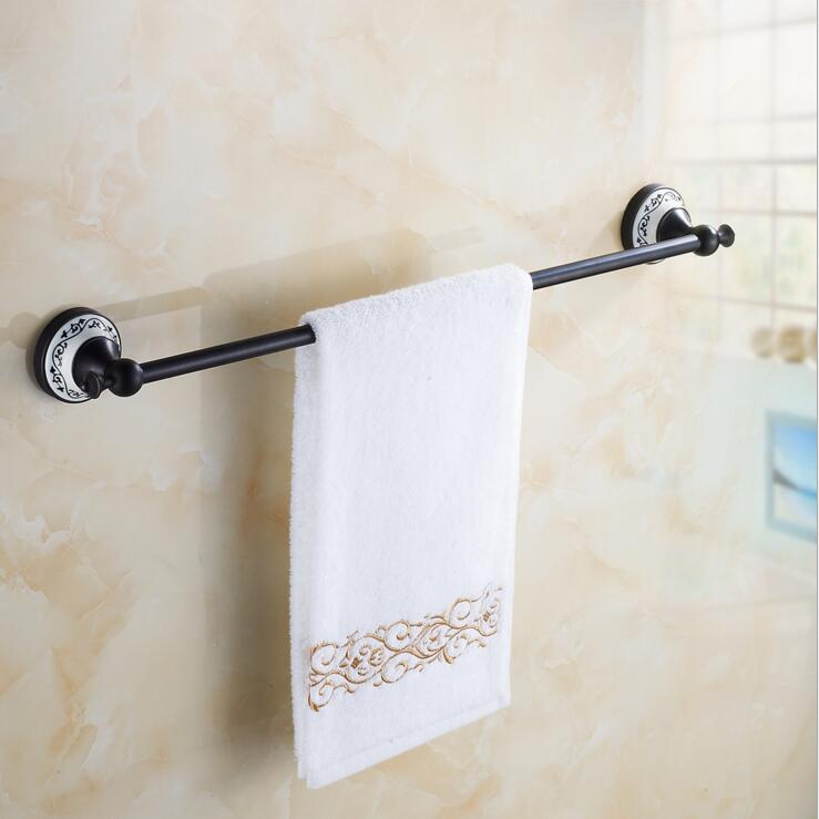 Luxury black bronze antique copper towel rack antique porcelain European single towel bar towel rack shelving free shipping european luxury all copper and bronze towel ring towel hanging antique blue and white towel ring towel rack hanging round