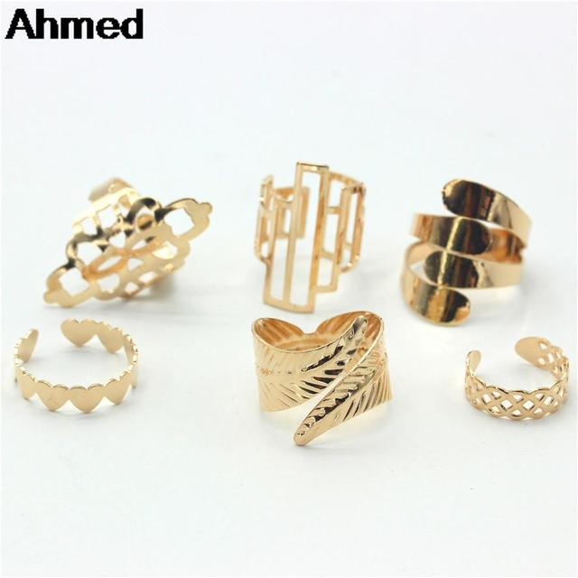 Ahmed Jewelry High Quality 6Pcs/Set Gold Finger Ring For Woman New Leaf Heart Fe