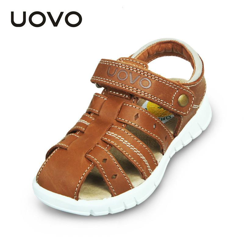 ФОТО UOVO Brand Designed Fisherman Kids Sandals genuine leather closed toe boys toddlers summer beach shoes brown children shoes soft