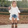 2016 Горячий стиль Детская одежда девушки модные ласточкин хвост вязать Белые хлопчатобумажные рубашки из девушек бесплатная доставка