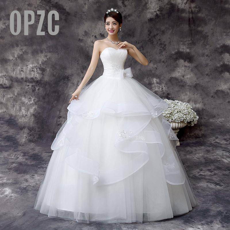 Customized Wedding Dress 2016 New Korean Style Handmade Wedding Gown Bridal Wedding dress White Princess Bride