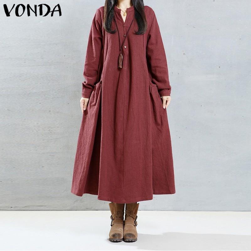 VONDA Women Pregnancy Maxi Long Dress 2018 Casual Loose V Neck Long Sleeve Solid Vintage Dresses Pregnant Maternity Clothings vintage style scoop neck printing long sleeve dress for women